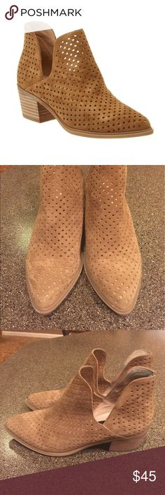 Steven by Steve Madden Danese Perforated Booties Steven by Steve Madden Danese Perforated Booties in Camel Suede Size 7.5. Excellent condition. There is some blue from jeans on inside of shoe as pictured but it's only on the inside. Steven by Steve Madden Shoes Ankle Boots & Booties