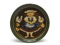 Vintage Hugo Kohler Ceramic Cake Plate. Swiss Folk Art Pottery