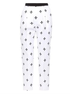 CATERINA GATTA Printed cotton-piqué trousers. #caterinagatta #cloth #trousers