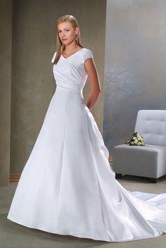 Short Sleeve V-neck Informal Wedding Dresses