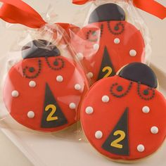 Ladybug Cookies Garden Bug Party  12 Decorated Sugar by TSCookies.  Click ask question to ask seller about colors, etc.
