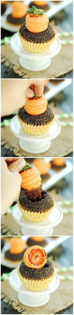Carrots & Dirt Cupcakes - adorable Easter cupcakes with chocolate covered strawberries. Easter Cupcakes, Dirt Cupcakes, Chocolate Cupcakes, Chocolate Ganache, Mocha Cupcakes, Gourmet Cupcakes, Flower Cupcakes, Velvet Cupcakes, Christmas Cupcakes
