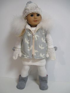 American Girl Doll Clothes  Winter White/Grey by 123MULBERRYSTREET, $32.00