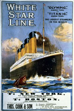 TS59 Vintage White Star Line Titanic & Olympic Cruise Poster Re-Print A4