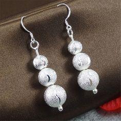 Wholesale Jewelry Silver Earrings Nice Beads Silver Earrings for Women Dangle Earring E283