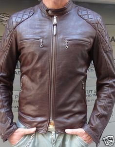 BROWN WASHED COW HIDE CAFE RACER LEATHER JACKET