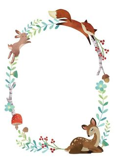 Baby Shower Templates, Baby Shower Invitation Templates, Baby Illustration, Woodland Party, Cute Images, Woodland Animals, Clipart, Cute Art, Watercolor Art