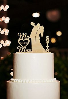 Rustic Mr and Mrs Bride and Groom Kiss Silhouette Personalized Name Wedding Cake Toppers Kaishihui http://smile.amazon.com/dp/B01AW4C7EK/ref=cm_sw_r_pi_dp_2Lp2wb1939B17