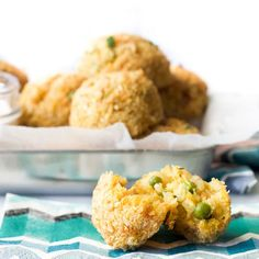 Bake Arancini Risotto Balls Split Open