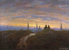 Karl Gustav Carus - Blick auf Dresden bei Sonnenuntergang
