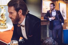Actor Craig McGinlay featuring in Dress2Kill winter season photoshoot. He is wearing three piece fully bespoke dinner suit.