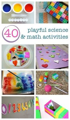 This ebook is an absolutely amazing resource full of 40 hands-on science and math activities for kids ages 3 through 8 (and also comes with 20 printables)! Such a great way to help any child develop a love of science and math in a fun and playful way! Map Activities, Math Activities For Kids, Kindergarten Science, Math For Kids, Science For Kids, Easy Science, Fun Math, Teaching Science, Maths Resources