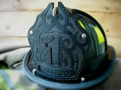 Black Smoke Shields: Leather fire helmet front shields | Gallery of completed shields