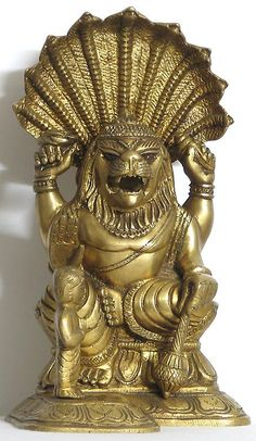 Narasimha Avatar with Prahlad - Brass Statue