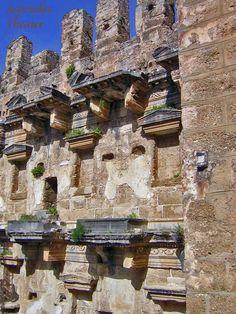 Skene detail of the Roman theatre of Aspendos, Turkey
