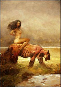 Jeff Jones Art | Girl With Tiger , n.d.