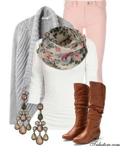 lovely outfit, love the gray cardigan, the earrings are the bomb and the boots are soups cute :)