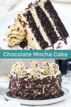 Chocolate Cake With Coffee, Chocolate Desserts, Coffee Cake, Chocolate Layer Cakes, Chocolate Birthday Cakes, 3 Layer Cakes, Layer Cake Recipes, Chocolate Chocolate, Cupcakes