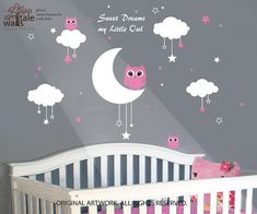 Sweet Dreams Owls with moon and stars