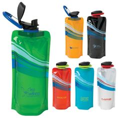 Promotional 24 oz Cool Wave Foldable Water Bottle | Customized 24 oz Cool Wave Foldable Water Bottle | Promotional Water Bottles