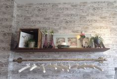 """Classic """"Up the Wall"""" whitewashed faux brick used in boutique accent wall Textured Brick Wallpaper, Brick Design, Faux Brick, Floating Shelves, Sweet Home, Sleep, Design Ideas, Interiors, Boutique"""