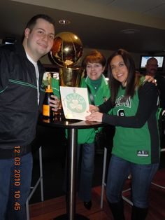 Me, Kelly and James, with the Celtics Trophy and Marriage Certificate that I made for the couple.
