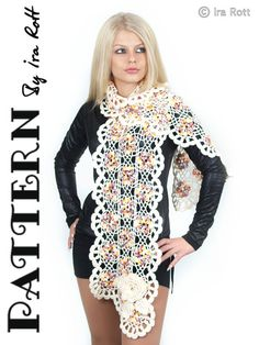 Vogue Flower Scarf Crochet PDF Pattern  $5.50 CAD    Vogue Flower Scarf - Crochet PDF Pattern    FORMAT: pdf, 5 pages, chart pattern, includes row by row instruction as well. Easy to follow