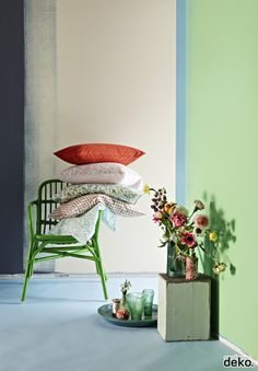 Green, blue, red with a teeny tiny bit of yellow.. this color scheme is another option. Very calming and cozy.