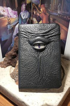 Mythical Beast Book (Black leather with Olive eye)-Slightly imperfect. $32.95, via Etsy.