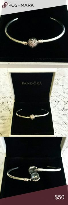 """Authentic Pandora Circle Of Love Charm Bracelet Brand new Authentic, Limited Edition, Pandora Charm Bangle Bracelet. Box is included with purchase. It's Hallmarked and properly stamped. This bracelet is size 8.3"""". Very beautiful, just a tad too large for my son's girlfriend's tiny wrist. Need to sell this one so he can buy her a smaller one. Please ask any questions you may have and I'll get back to you ASAP. Pandora Jewelry Bracelets"""