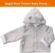 Angel Dear Unisex Baby Fuzzy Jacket (Baby)-Gray - 12-18 Months. Fuzzy Jacket (Baby)-Gray This warm and cozy collection will bring smiles to everyone. 100% Cotton Pin Dot lining and ear details on the hood are sure to please. 100% Polyester Outer/ 100% Cotton Lining. Machine Washable.