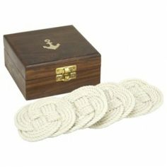 Rope Coaster Set in Wooden Box with Anchors
