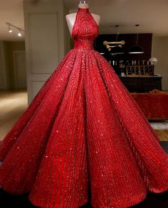 Ball Gown High neckline Prom Dress With Beads Floor-Length Sequins Quinceanera Dress Sweet 16 Dresses for Girls Sweet 16 Dresses, Sweet Dress, Elegant Dresses, Pretty Dresses, Glamorous Dresses, Ball Gown Dresses, Evening Dresses, Dress Up, Robes Disney