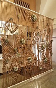 Knotted rope/macrame screen divider with air plants  Office Zen Garden, Home And Garden, Interior Design Plants, Plant Design, Interior Decorating, Diy Room Divider, Divider Ideas, Wall Dividers, Room Divider Curtain