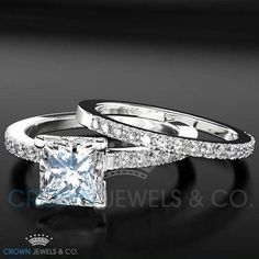 Engagement Ring Wedding Bridal Set For Women 1.5 ct Princess Cut Diamond 18K White Gold Setting Size 4 5 6 7 8 #princesscutring #PrincessCutDiamonds