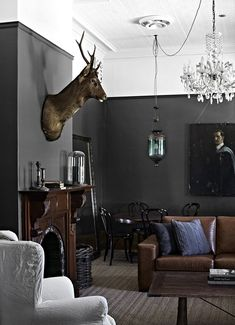 WALL COLOR FOR STUDY Greige: Interior Design Ideas And Inspiration For The  Transitional Home : Dark Grey Walls