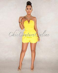 98dd6dea9e9 Chic Couture Online - Laila Yellow Strapless Romper