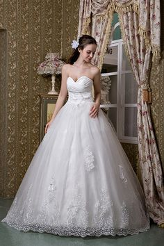 A-line Sweetheart Satin Lace Sweep/Brush Train Wedding Dress