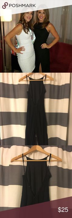 """Black Jumpsuit With Double Leg Slit Worn once for a bachelorette. Fitted top with adjustable straps. Low back and a long slit in each pant leg. Black romper/shorts are underneath the slits for coverage. For reference, I am 5'2"""" 32C, 115lb. Papillon Blanc Pants Jumpsuits & Rompers"""