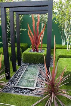 Modern Garden Design With Boxwood Hedges And Modern Arbor , Outdoor Modern Garden Design In Garden And Lawn Category