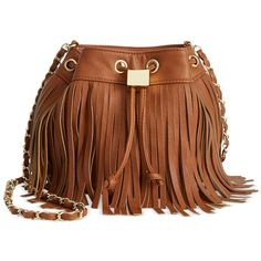 Olivia + Joy Adrienne Crossbody ($58) ❤ liked on Polyvore featuring bags, handbags, shoulder bags, cognac, fringe crossbody, boho shoulder bag, fringe handbags, fringe shoulder bag and brown handbags