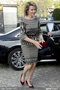 Queen Mathilde of Belgium arrives to attend a ceremony for the Inbev-Baillet Latour awards for Health and Clinical Research on April 23, 2015 in Brussels.
