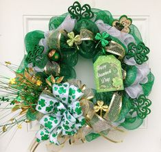 St Patrick's Day Deco Mesh Wreath with Mesh Ribbon
