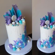 Purple and blue drip cake. Textured watercolor design by Olly's Cakery