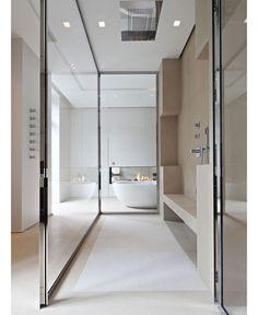 SHOWER PARTY! #walkthrough #shower #rainfall #open #glass #luxe #style #love #architecture #interiordesign #bathroom #neutral by bespokeinteriordesign