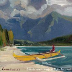 Wade Koniakowsky - Vibrant Ocean Art For Your Home or Office Tropical Art, Tropical Paintings, Artistic Visions, Outrigger Canoe, Hanalei Bay, Hawaiian Art, Beach Artwork, Vintage Hawaii, Surf Art