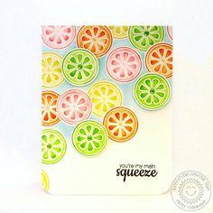 Sunny Studio Stamps Fresh & Fruity Lemon, Lime & Orange Citrus Slice Main Squeeze card