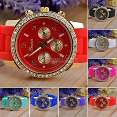 Diamante Wristwatches Ladies Silicone Jelly Watch Quartz