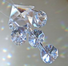 Two Tanzanite and Clear Crystal Ornaments Suncatchers, Octagon and Square Prisms