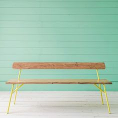 Tokyo Bench with Lemon Legs - Furniture - Shop By Category - New For Spring Hallway Bench, Yellow Sofa, Metal Table Legs, Brick And Mortar, Breezeway, Rustic Gardens, Take A Seat, Living Room Kitchen, New Furniture